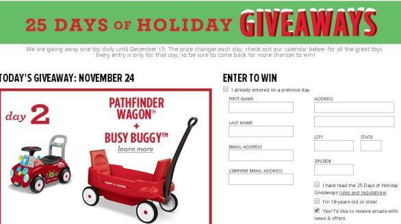 Radio Flyer 25 Days of Holiday Giveaways Sweepstakes