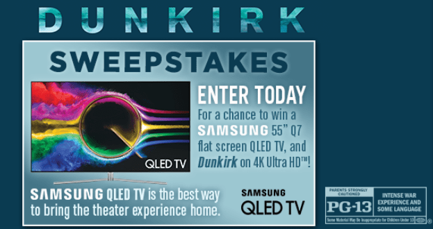 "Dunkirk Sweepstakes - Chance To Win Samsung 55"" Q7 flat"