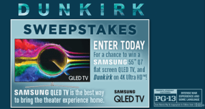 Chance To Win Samsung 55 Q7 Flat Screen QLED TV, and Dunkirk on 4K Ultra HD