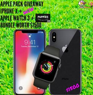 $1,500 Unlocked iPhoneX Apple Bundle Giveaway – Stand Chance to Win an iPhone X, Apple Watch Series 3 and Gift Card worth over $1500