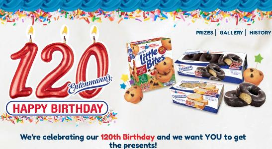 Entenmann's 120th Birthday Celebration Sweepstakes – Chance to Win A Trip, Party, Entenmann's product, Coupon