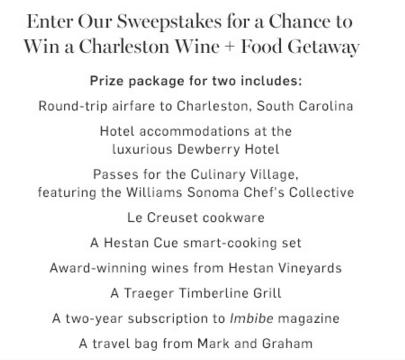 Williams Sonoma Sweepstakes - Win Trip to Charleston Wine and Food