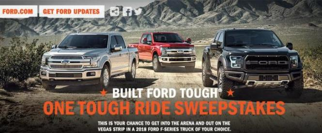 Built Ford Tough One Tough Ride Sweepstakes – Chance to Win a New 2018 Ford F-Series Truck, A Trip to attend the 2018 PBR BFT World Finals