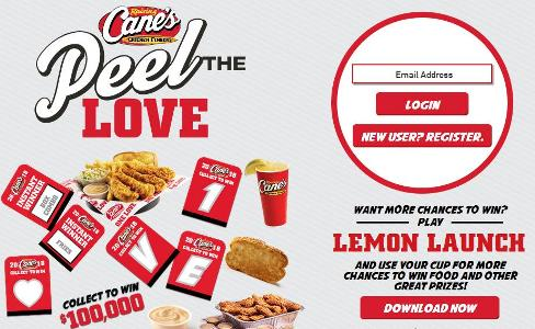 Raising Cane's 2018 Peel The Love Game Sweepstakes – Chance to Win $100,000
