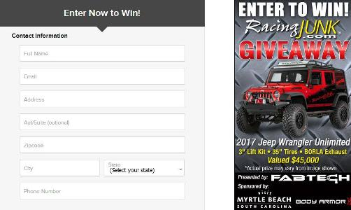 Racing Junk Jeep Wrangler Giveaway – Stand Chance To Win Jeep Wrangler Unlimited With Modifications