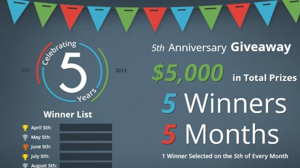 The Debt.com 5th Anniversary Giveaway – Stand Chance to Win $1,000 Cash