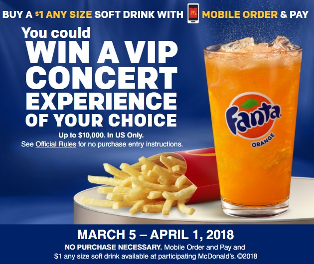 McDonald's Fanta Mobile Order & Pay Sweepstakes - Enter To have a Chance To Win VIP Concert Experience Package for Two Value up to $10,000
