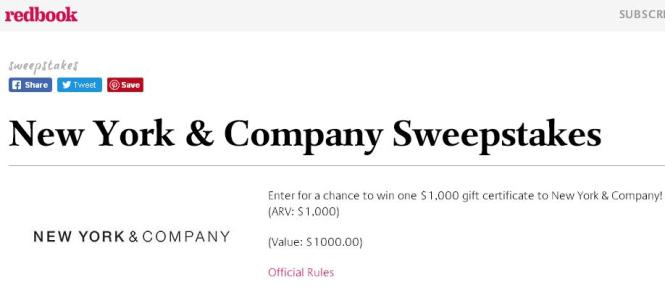 Redbook New York & Company Sweepstakes | Stand a Chance to Win $1000 Gift Certificate