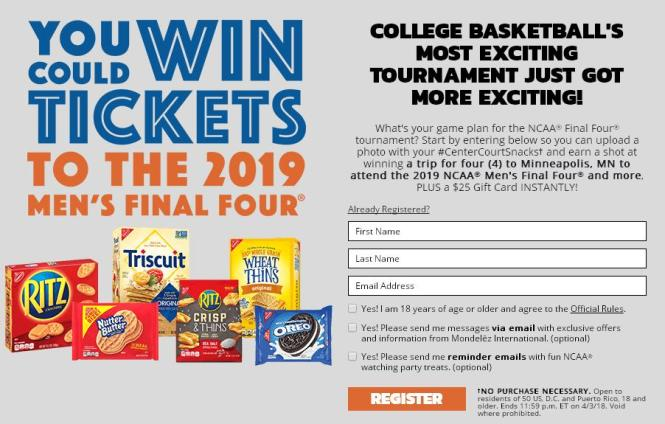 Nabisco Center Court Snacks Instant Win Game Sweepstakes – Chance to Win A Trip to Minneapolis