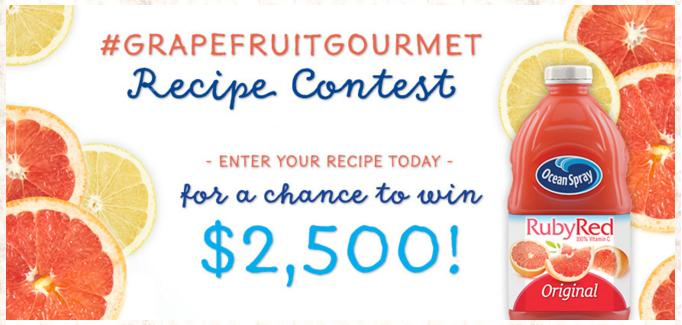 Ocean Spray Grapefruit Gourmet Recipe Contest – Stand Chance to Win $2500, $1000 and an Ocean Spray Prize Pack