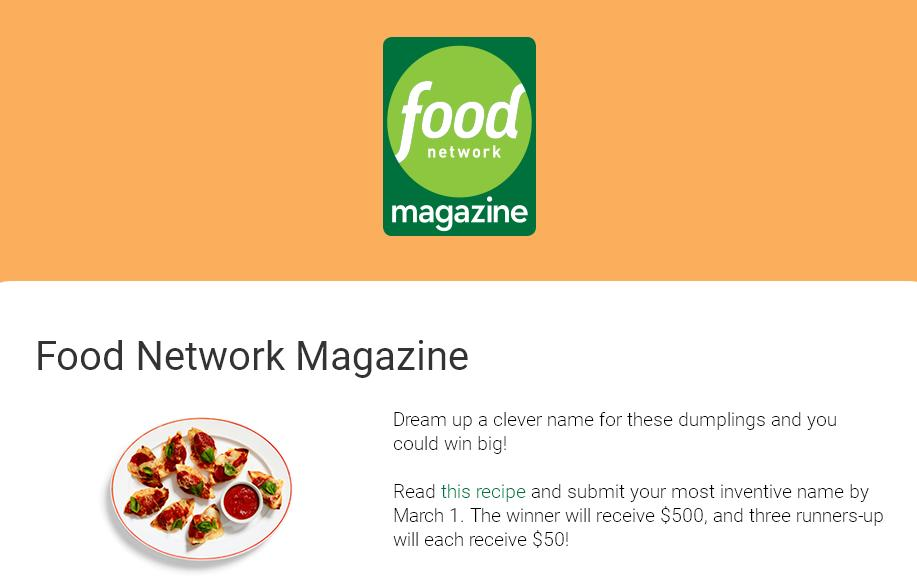 Food Network Magazine Name This Dish Contest – Stand Chance to Win $500, a $50 gift