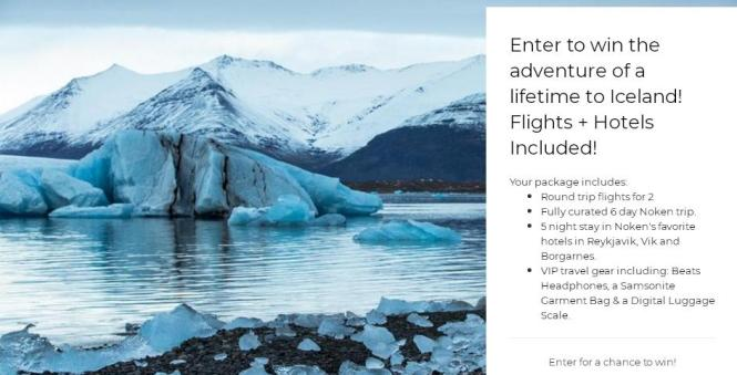 Iceland Airfare For Two + Hotel + Vip Travel Gear! Sweepstakes – Stand Chance to Win Roundtrip flights to Iceland