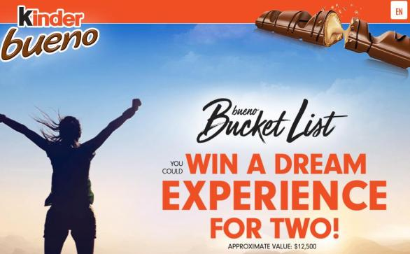 Kinder Bueno Bucket List Contest – Stand Chance to Win A Trip Prize