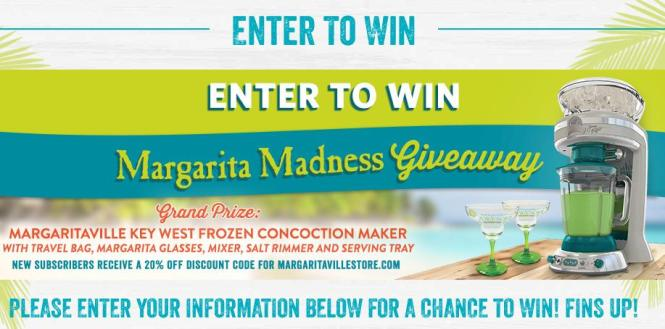 Margaritaville Margarita Madness Giveaway – Stand Chance to Win Frozen Concoction Maker, Travel Bag, Margarita glasses, Tray and Cutting Board Set