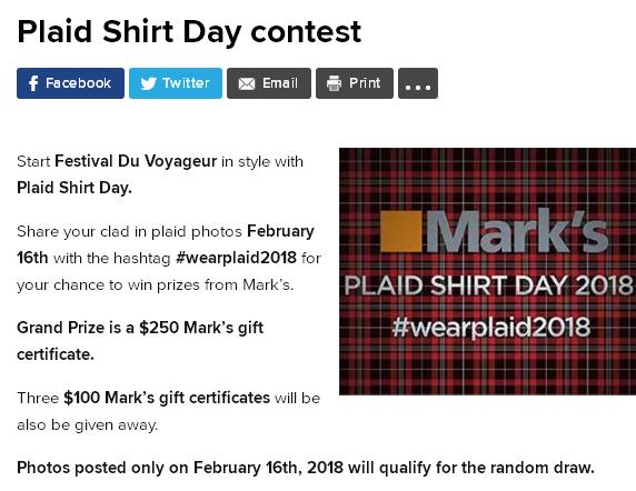 Global Winnipeg – Plaid Shirt Day contest – Stand Chance To Win $250 Mark's Gift Certificate