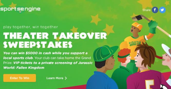 SportsEngine Play Together Win Together Sweepstakes – Chance to Win $5,000 Cash, VIP tickets to a Private Screening of Jurassic World