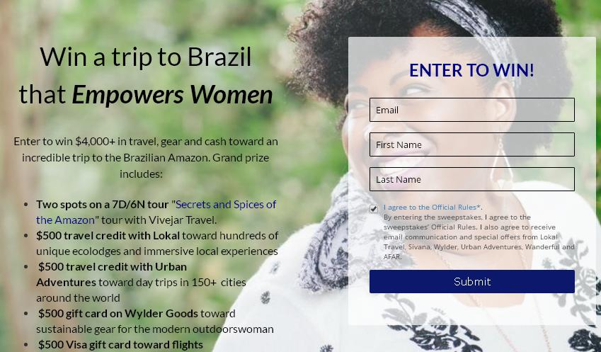 Lokal Empowers Local Women Sweepstakes - Win A Trip To Brazil