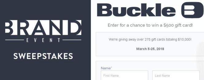 Buckle Brand Event Giveaway – Stand Chance to Win A $500 Brand Event Gift Card