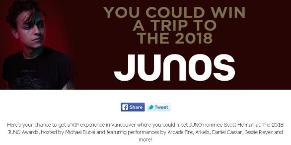 2018 JUNO Awards Contest – Stand Chance to Win Trip to Vancouver, BC