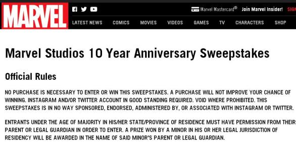 Marvel Studios 10 Year Anniversary Sweepstakes – Stand Chance to Win Grand Prize Trip, Tickets, $250 Gift Card