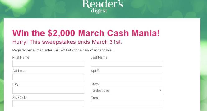 Reader's Digest Sweepstakes- Win the $2,000 March Cash Mania