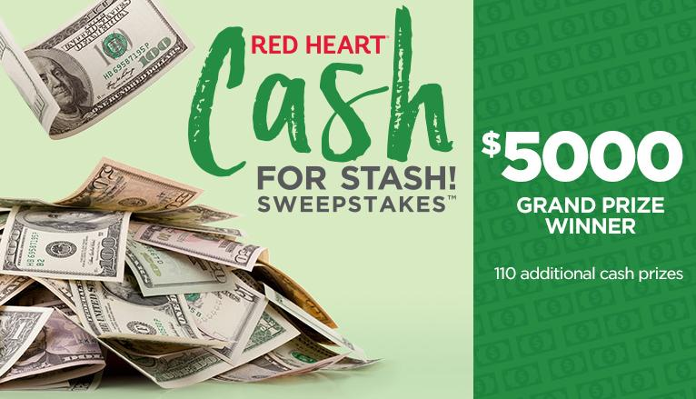Red Heart Cash for Stash Sweepstakes – Stand Chance to Win USD 5,000, USD 1,000, USD $25 Cash Prize