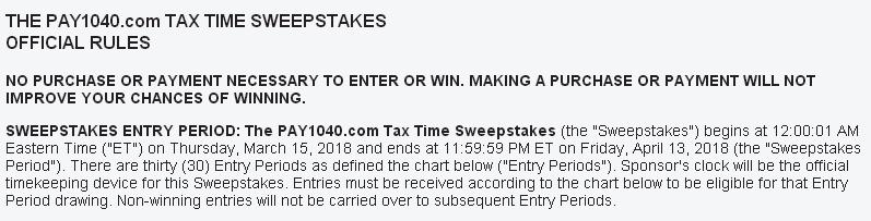 Pay1040.com Tax Time Sweepstakes - Enter have a Chance to Win a $50 eGiftCard Daily Prize