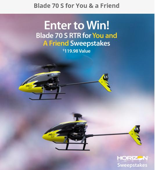 Horizon Hobby Blade 70 Giveaway – Stand Chance to Win Blade 70 S RTF Helicopters Prize