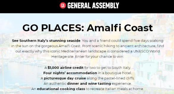 General Assembly Go Places Amalfi Coast Sweepstakes – Stand Chance To Win A $1,000 Airline Credit Prize