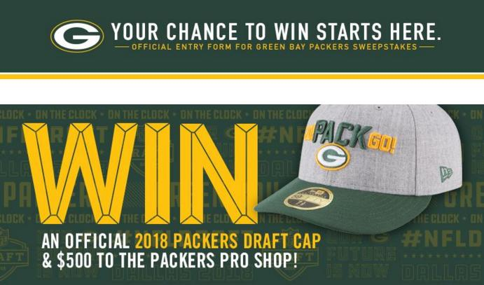 Green Bay Packers 2018 Draft Sweepstakes – Stand Chance to Win A $500 Packers Pro Shop Gift Card And A 2018 Official Draft Cap