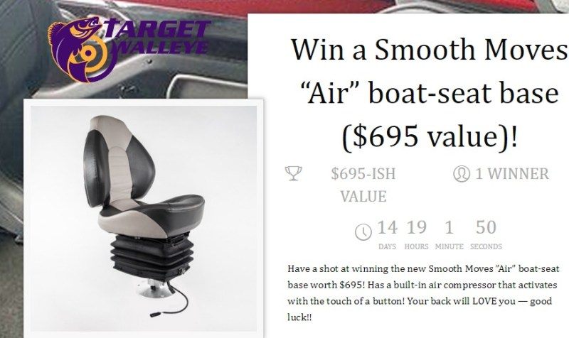 Target Walleye Boat Seat Base Giveaway-Chance To Win A Smooth Moves Air Boat-Seat Base