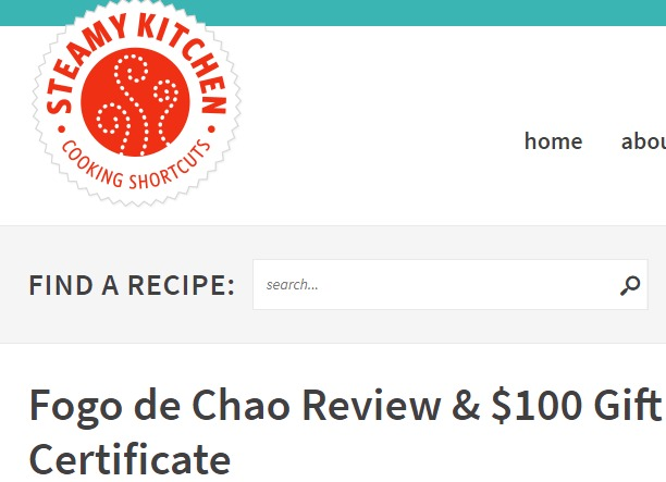 Steamy Kitchen Fogo de Chao Giveaway-Enter To Win Fogo de Chao Review & $100 Gift Certificate