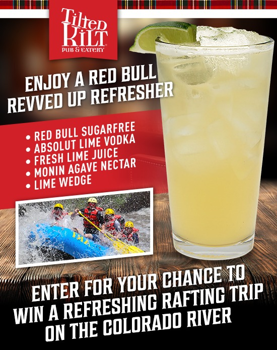 Tilted Kilt Refresher Rafting Trip Sweepstakes-Chance To Win A Trip For Two