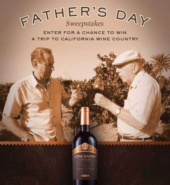 Concannon Vineyard Father's Day Sweepstakes - Chance To Win A Trip To California Wine Country