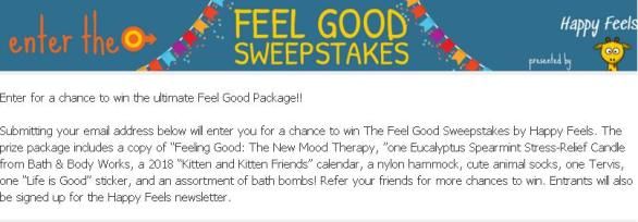 Happy Feels The Feel Good Sweepstakes – Stand Chance to Win Prize Package