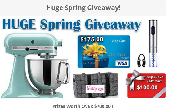 Internet Steals & Deals Huge Spring Giveaway – Stand Chance To Win A $175 Gift Card, Wine Opener And Accessories, A Kitchen Aid Mixer, Bags