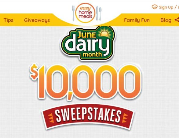 June Dairy Month $10,000 Sweepstakes – Stand Chance To Win $5,000 Cash