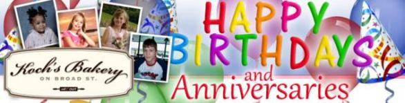 Koch's Bakery Happy Birthday And Anniversaries Contest – Win Chance To Win Amazing Prizes