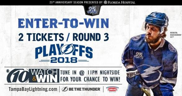 WTSP Lightning Hockey Contest – Chance To Win Terrace Level Tickets To A Third Round Tampa Bay Lightning playoff Hockey Game