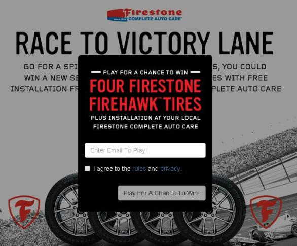 Race to Victory Lane Instant Win Sweepstakes – Stand Chance To Win Set Of 4 Firestone Firehawk Tires