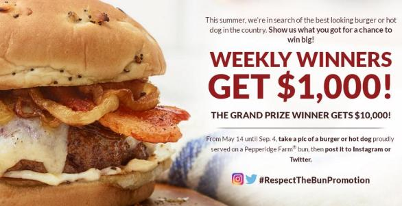 Pepperidge Farm Respect The Bun Sweepstakes – Chance To Win $10,000 Cash