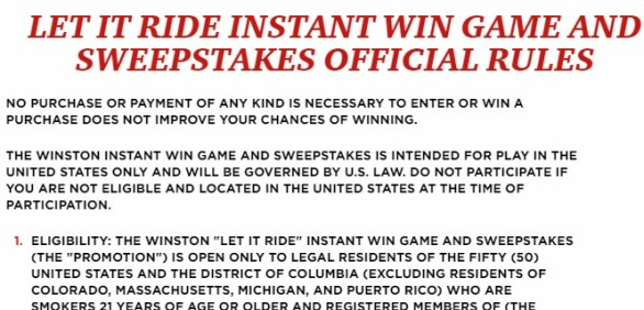 Winston Let It Ride Instant Win Game Sweepstakes -Win A Sport