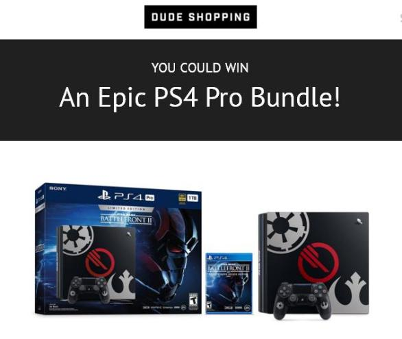 PS4 Pro Star Wars Battlefront II Bundle Sweepstakes – Stand Chance To Win Sony PS4 Pro Star Wars Battlefront II Bundle