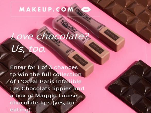 Makeup.com L'Oréal Paris Les Chocolats Mailer Sweepstakes – Stand Chance To Win L'Oréal Paris Les Chocolats Product, A Chocolate Mailer