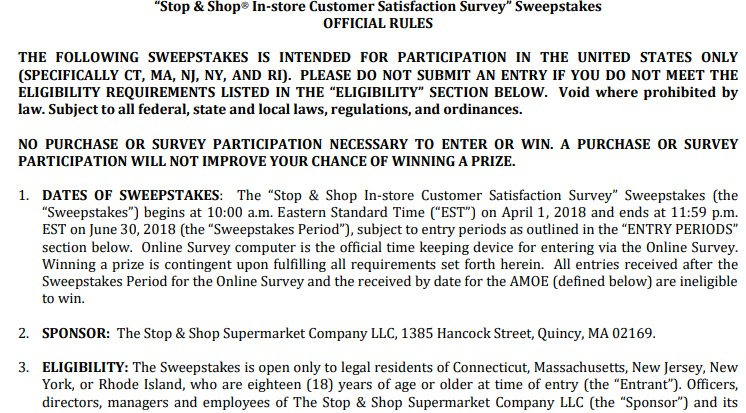 YTalk to Stop and Shop Customer Satisfaction Survey Sweepstakes 2018
