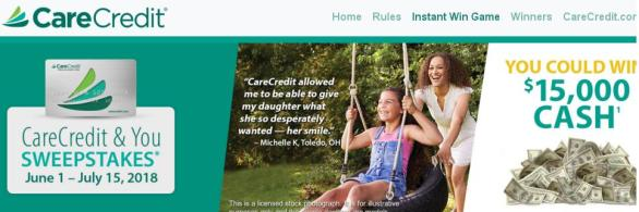 The CareCredit & You Sweepstakes– Stand Chance to Win $15,000 Cash, A $300 Mastercard Gift Card