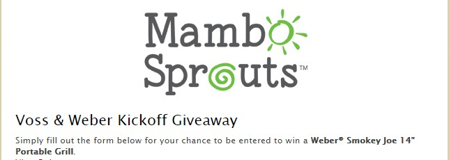 Mambo Sprouts Voss & Weber Kickoff Giveaway - Chance To Win Weber's Portable Joe Grill
