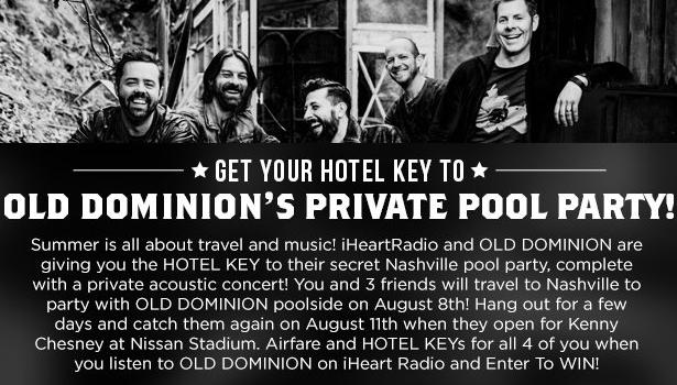 Get Your Hotel Key To Old Dominion's Private Pool Party Sweepstakes – Win A Trip