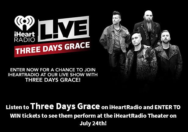 iHeartRadio See Three Days Grace LIVE In New York City Sweepstakes – Stand Chance To Win two Tickets To See Three Days Grace LIVE In New York City