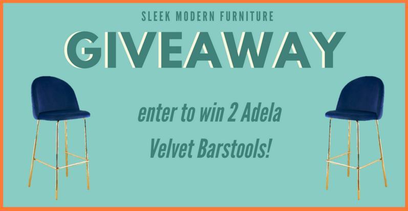 Sleek Modern Anniversary Sale Giveaway – Stand Chance To Win 2 Adela Velvet Barstools